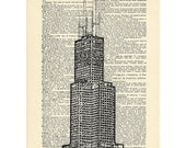 Sears Tower Chicago Dictionary art vintage building architecture on Upcycled Vintage Dictionary Paper - 7.75x11