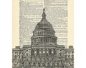 Washington DC Dictionary art vintage capitol building architecture on Upcycled Vintage Dictionary Paper - 7.75x11