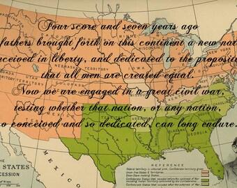 "Abraham Lincoln - Gettysburg Address - Civil War Map Background 6.75 x 10.5"" Print"