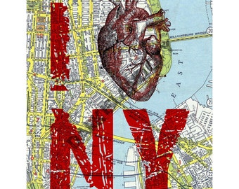 "Anatomical Medical - I heart NY - I Love Ny - New York City Map Page Background 8x10"" print"