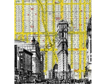 New York Times Square Vintage Urban Mid Century 1900's - NYC Map Background - 8 x 10 Print