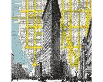 Large Print - Flatiron Building - NYC Map Background Landmark urban city decor - 10.5  x 13 Print
