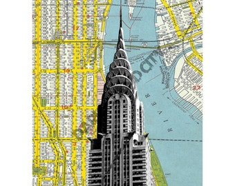Chrysler Building New York City modern mid century urban skyscraper - NYC Map Background - 8 x 10 Print