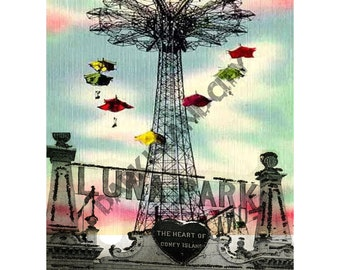 Coney Island - Luna Park Amusement park Vintage Mixed media urban - New York City - 8 x 10 Print