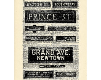 new york city subway signs Dictionary art vintage nyc new york art on Upcycled Vintage Dictionary Paper - 7.75x11 under 20