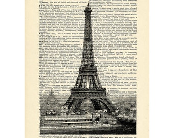 Eiffel Tower Paris France Dictionary art vintage art decor urban on Upcycled Vintage Dictionary Paper - 7.75x11