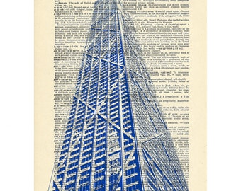 Chicago John Hancock Dictionary art vintage building architecture on Upcycled Vintage Dictionary Paper - 7.75x11