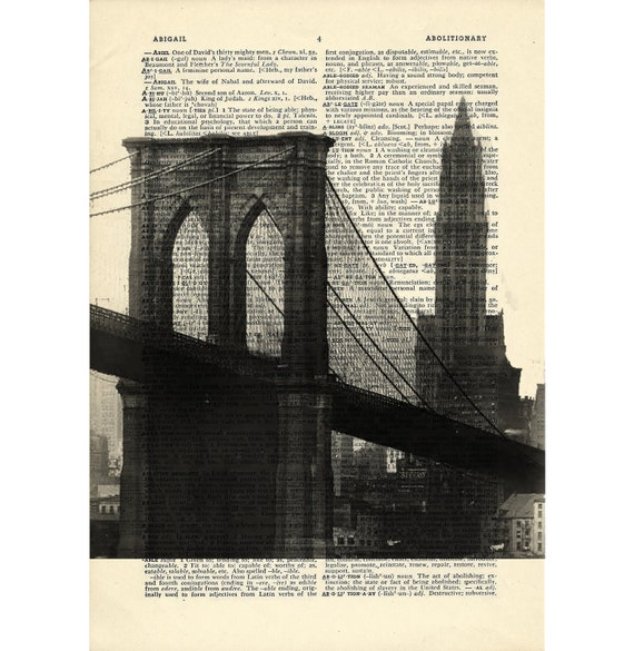 Brooklyn Bridge Dictionary art Woolworth building vintage nyc new york art on Upcycled Vintage Dictionary Paper - 7.75x11