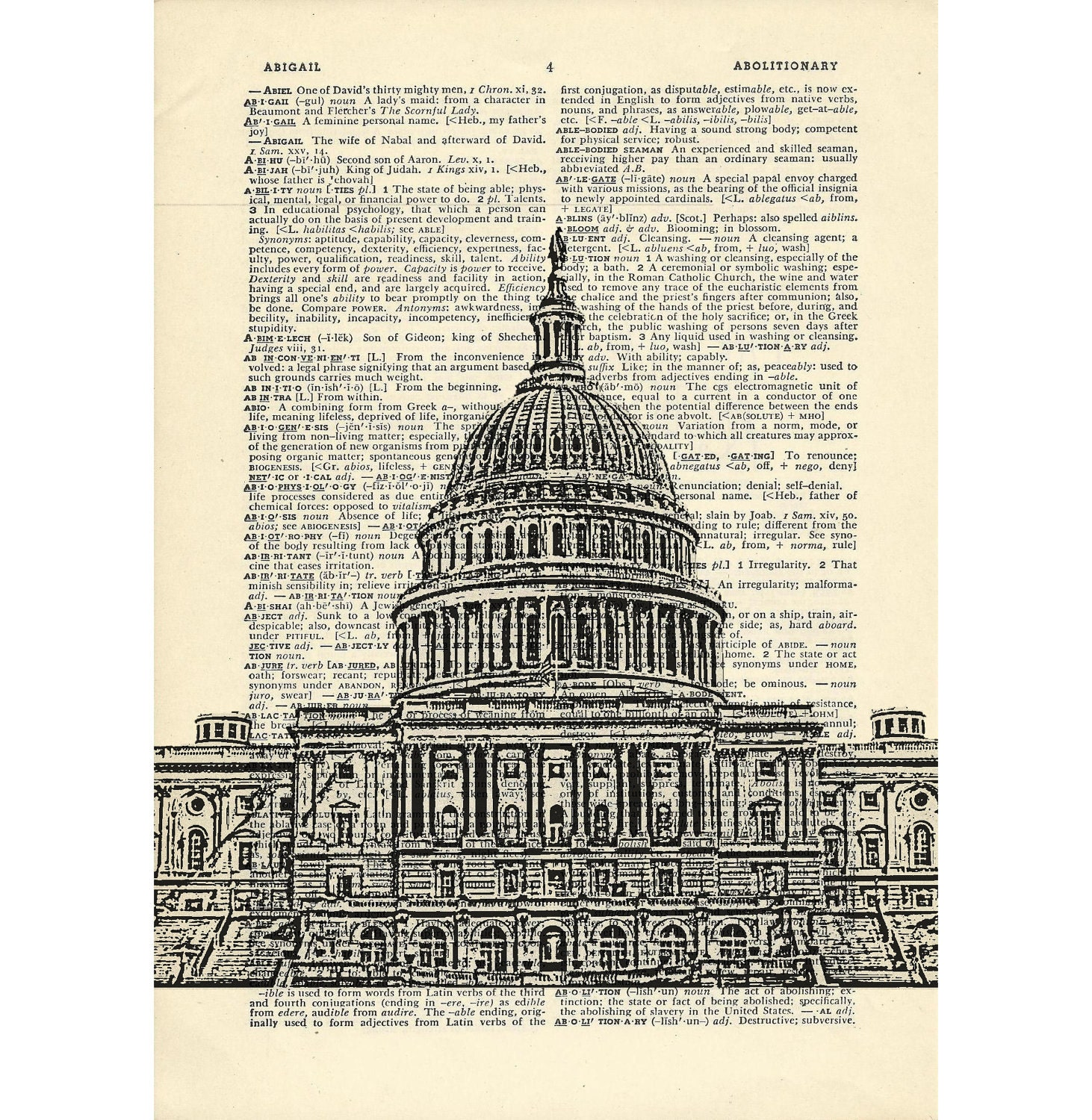 Washington dc dictionary art vintage capitol building for Building dictionary