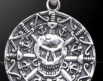 Pirate Sterling silver Skull Coin Pendant