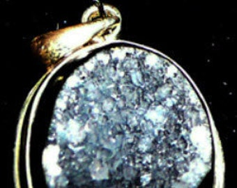Black DRUSY QUARTZ PENDANT in Sterling silver