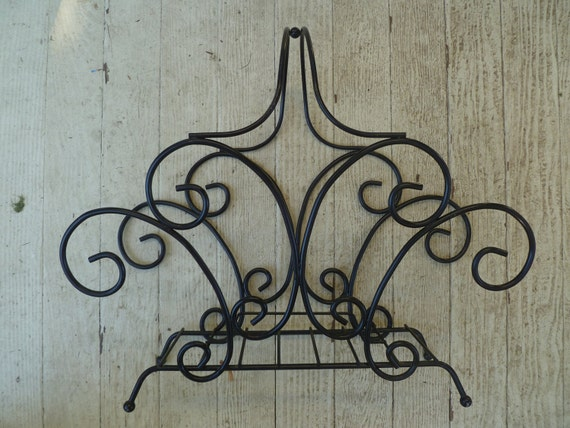 Discounted price, Vintgage Mid Century Modern Black Scroll, Wrought Iron Metal Magazine Rack, Very Elegant