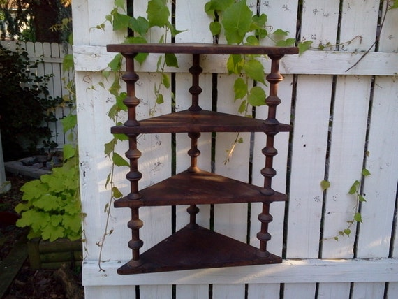 antique, vintage, wood handmade, corner shelf made with wooden spools, one of a kind