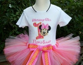 Minnie Mouse Birthday Outfit with Shirt, Tutu and Ears with bows-Can Be PERSONALIZED