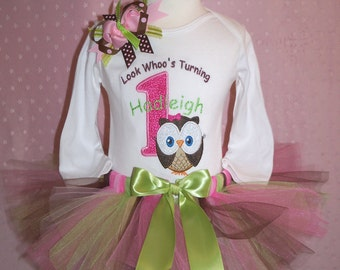 Look Whoo's Turning ONE Big Owl in Pinks-1st birthday outfit includes Shirt, Tutu, and Hairbow-PERSONALIZED
