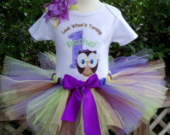 Look Whoo's Turning ONE Big Owl in purples-1st birthday outfit includes Shirt, Tutu, and Hairbow-PERSONALIZED