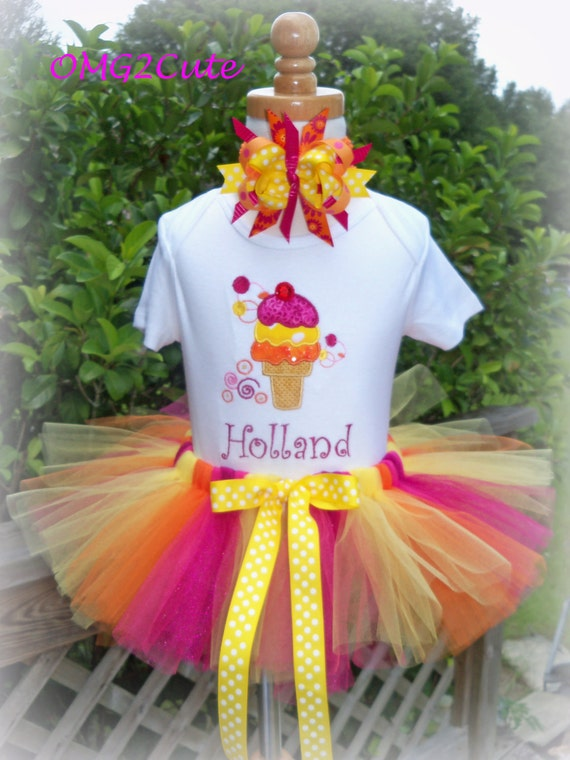 Birthday Outfit with Ice Cream Cone includes shirt, Tutu and Bow to match