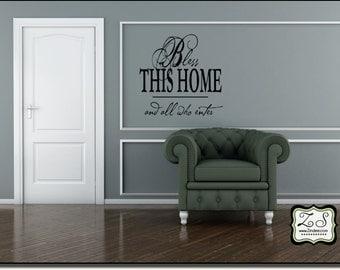 "Bless This Home 23.5""w x 23""h- Vinyl Wall Art- Vinyl Wall Decal- Wall Sticker- Vinyl Sticker- Vinyl Wall sticker EN003"