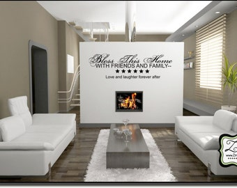 "Bless this Home 33""w x 10""h- Vinyl Wall Art- Vinyl Wall Decal- Wall Sticker- Vinyl Sticker- Vinyl Wall sticker EN005"