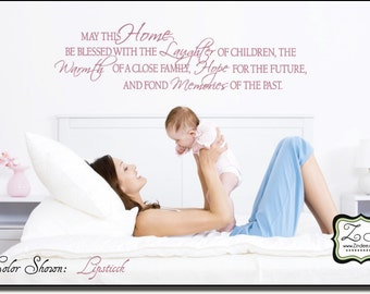 """May this home be blessed 37""""w x 10""""h- Vinyl Wall Art- Vinyl Wall Decal- Wall Sticker- Vinyl Sticker- Vinyl Wall sticker EN006"""