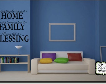 """Having Somewhere...Home, Family, Blessing 23.2""""w x 23""""h (FA007)- Vinyl Decal for walls, tiles, doors, windows, mirrors, crafts, and more"""