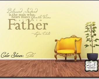 """Blessed Indeed..Father 23""""w x 15.2""""h (FA019)- Vinyl Decal for walls, tiles, doors, windows, mirrors, crafts, and more"""