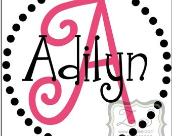 """Personalized Name and Initial Vinyl Decal 12""""w x 12""""h- for walls, tile, doors, windows, mirrors, crafts, and more ZS001"""