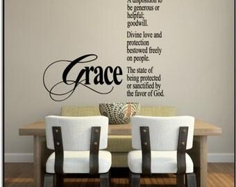 "Grace Definition.. noun 23""w x 29.4""h (L027)- Vinyl Wall Art / vinyl decal: walls, tiles, doors, windows, mirrors, crafts, etc."