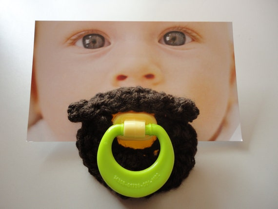 Crocheted mustache pacifier - The Folk Singer