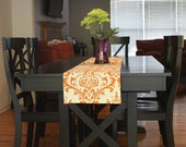 Table Runner - Sweet Potato Damask Table Runners - Damask Table Runners For Weddings or Home Decor - Select A Size