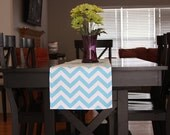 Table Runner - Aqua Blue Chevron Table Runners - Table Runner For Weddings or Home Decor - Select A Size