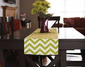 Table Runner Select a Size - Chartreuse Green/White Chevron Table Runners Holidays Christas Home Decor Easter
