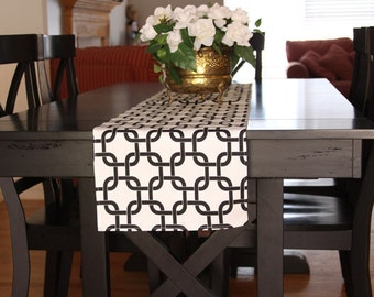 Table Runner - Black-White Chain Table Runners - Chain Table Runners For Weddings or Home Decor - Select A Size