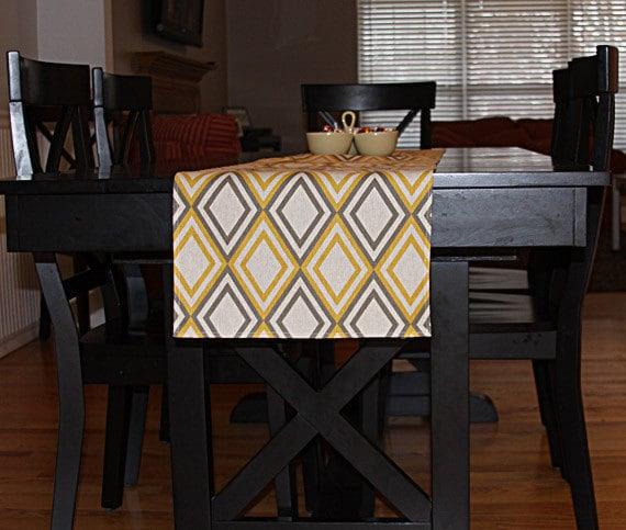 table runner diamond grey and yellow pattern customizable