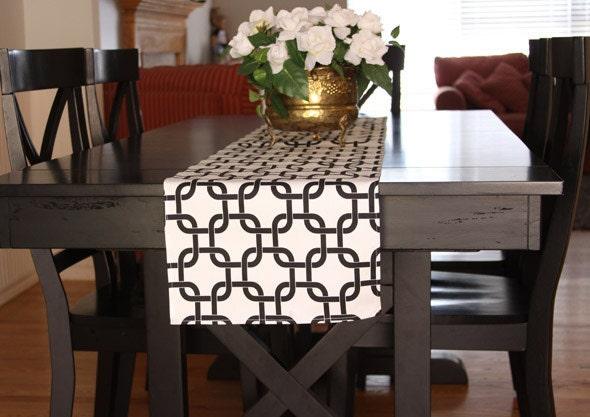 Table runner black white chain table runners chain table for Modern table runner