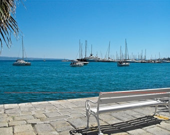 """Split, Croatia Seaside Bench - """"Best Seat in Town"""" - Fine Art, Travel Photography, Various sizes  / matted available"""