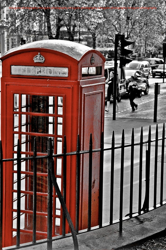 Phone Booth, London, UK  - Color Accent Travel Photography ,Various sizes / matted available