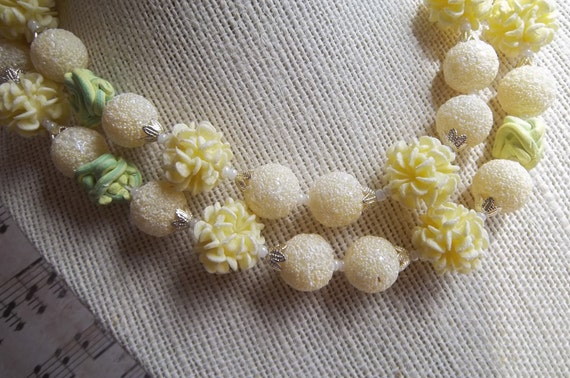 Wedding Cake Necklace, Sugared Pastel Yellow Beads, Japan