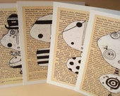 Blank PostCard set of 4 - Art Notecard Minerva - Handmade by Moha Hungarian artist