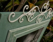 Sea Green and White Shabby Chic Picture Frame Embellished with Ironwork