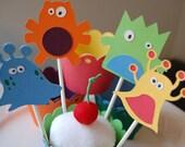 Monster Cupcake Toppers,  Monster Mash, Monster Theme, Monster Party, 12 Pcs