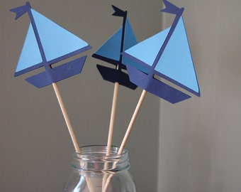 Sailboat Centerpieces, Nautical Centerpieces, 8 Pcs