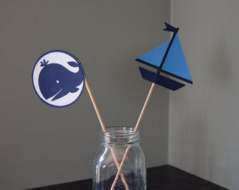 Sailboat and Whale Centerpieces, Nautical Centerpieces, Nautical Baby Shower, Party, Birthday 8 Pcs