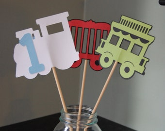 Train Centerpieces, Train Birthday Party, Train Theme, 9 Pcs