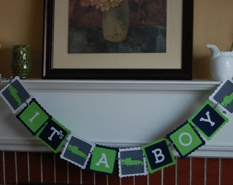 Alligator It's A Boy Banner, Baby Shower Banner, Alligator Theme, Alligator Party, Madras