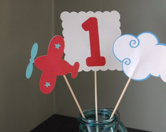 Airplane Centerpieces, Take Flight, Airplane Birthday, 9 , Red and Blue