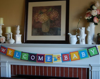 Monster Bash Welcome Baby Banner, Baby Shower Banner, Monster Theme, Monster Welcome Baby