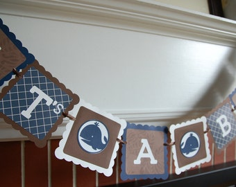 Whale It's A Boy Banner, Baby Shower Banner, Whale Baby Shower, Nautical Shower,