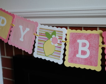 Pink Lemonade Happy Birthday Banner, Lemon Theme, Pink Lemonade Birthday Party