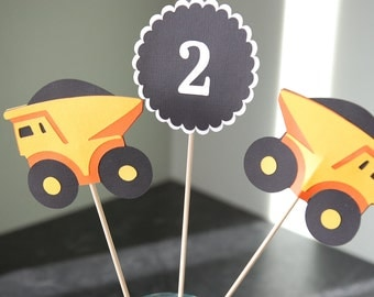 Construction Centerpieces, Dump Truck Centerpieces, Construction Birthday Party, 8 Pcs